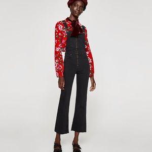 Zara black denim overalls with cropped frayed leg